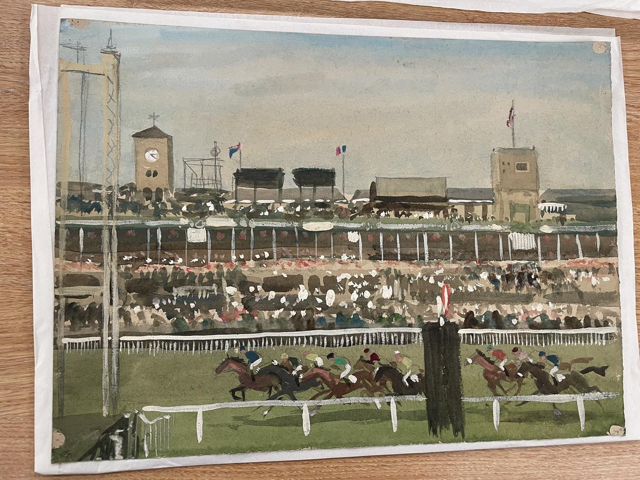 Joseph Appleyard (1908-1960) ''Doncaster, Races'' Mixed media, 28.5cm by 38.5cm (unframed) Artist' - Image 2 of 5