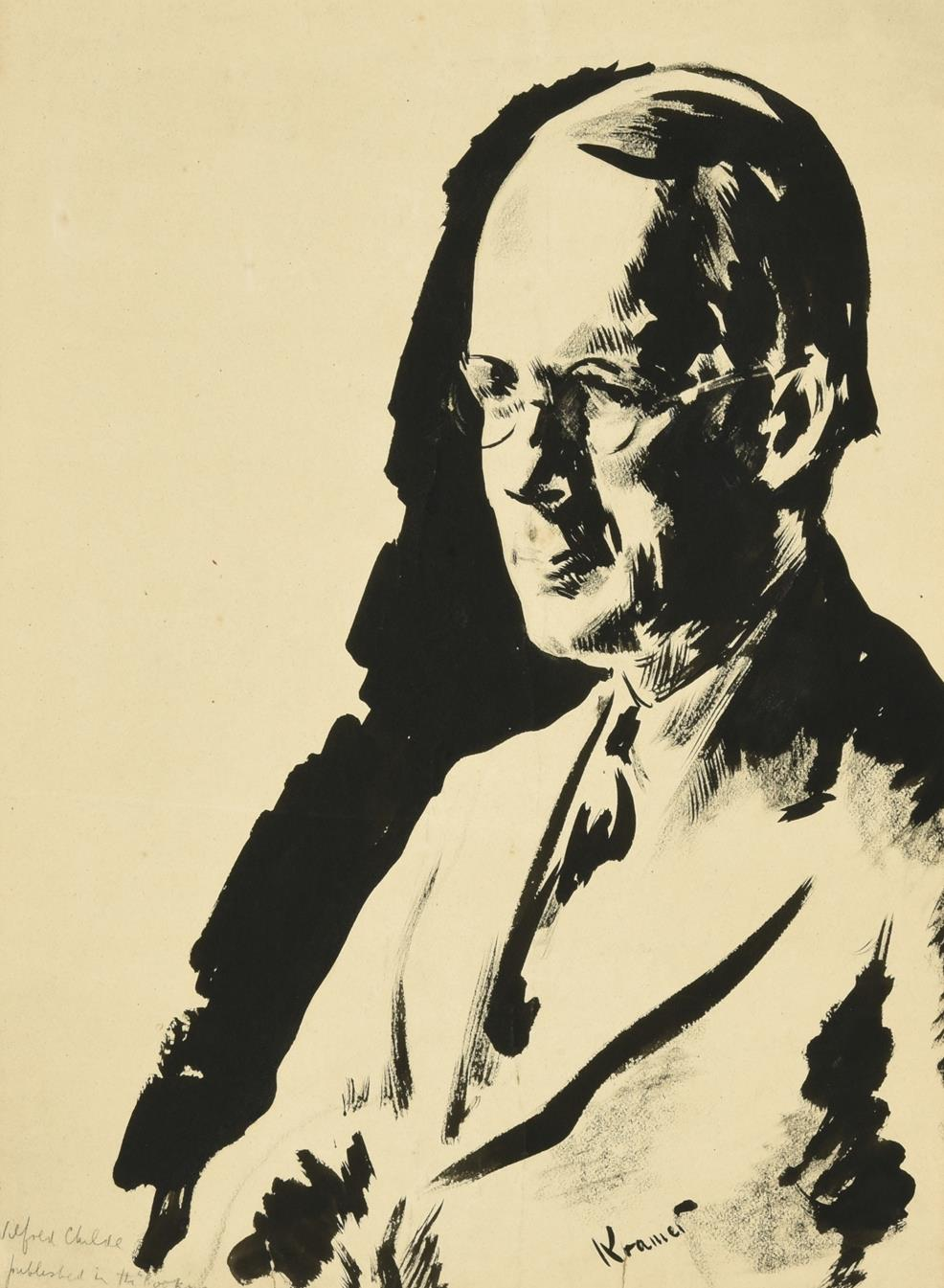 Jacob Kramer (1892-1962) ''Wilfred Childe'', head and shoulders portrait Signed, inscribed with