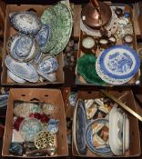 Large assorted lot Victorian pottery, tiles and metal wares including Willow pattern meat dishes,