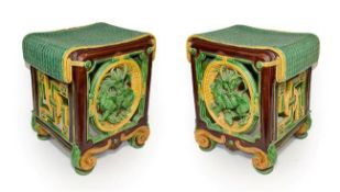 A Pair of Minton Majolica Garden Seats, 1863, of square form with faux rattan seats over pierced