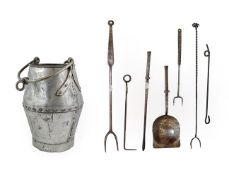 ~ A Steel Poker and Shovel, 18th century, the square section knopped handles engraved with scroll