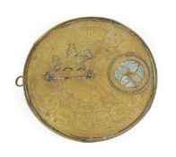 Persian Brass Sundial/Compass 9 1/4'' diameter with astrological symbols and other decorations to