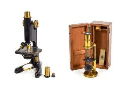 R & J Beck (London) Microscope Model 22 no.3406, with two lens turret, condenser, fine/course