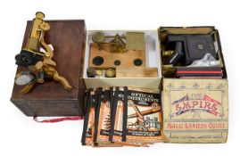Various Instruments including a Student microscope (cased) The Empire Magic Lantern Outfit (in