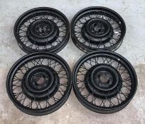 ~ Four Pre-War 19'' Wire Wheels, sand-blasted and repainted black
