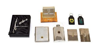 Jaguar and Lotus Interest, to include a Lotus stainless steel hip flask with screw top, a chrome