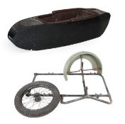 ~ A 1950's Black Painted Side Car, the body with screw fixings, repainted black with brown