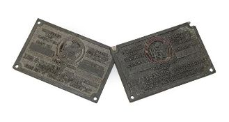 Two Lea-Francis Pressed Metal Telegram Leaf or Chassis Plates, one stamped 181279981, the other with