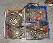 ~ Three Boxes of Assorted Car Spares, to include five Packard Eight wheel hubs, MGB spares, oil