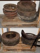 ~ Eleven Assorted Vintage Wirework Car Wheels, eight with rubber tyres (a/f)