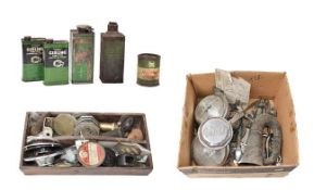 ~ A Collection of Auto Jumble, to include chrome items, including a pair of Marchal spot lamps, a
