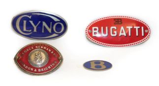 ~ A 1920/30 London & Brighton Red Enamelled Oval Car Badge, supplied by George Newman & Co, 6.5cm