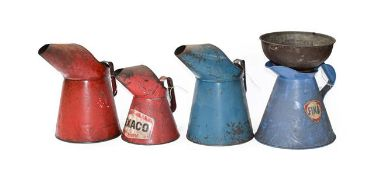 ~ A Red Painted 1 Gallon Oil Pourer; A Blue Painted Example; A Fina Example; A Texaco 2 Litre Oil