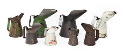 ~ Eight Vintage Metal Oil Pourers, in various sizes, including three green painted and two white