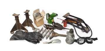A Collection of Automobilia, to include a pair of metal car axel stands, a 1 tonne Lake & Elliott