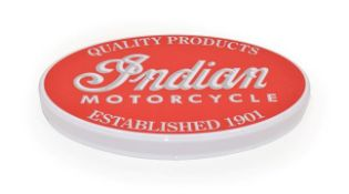 An Illuminated Car Display Sign: Indian Motorcycle Quality Products, established 1901, with low