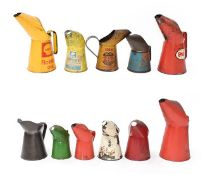 ~ Eleven Assorted Oil Pourers, including Shell, Esso, National, Blue Col, and Zip, six unmarked