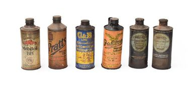 ~ Six Vintage Under-Bonnet Cylindrical Oil Cans, to including Pratts, Falcon, Duckhams, Mobil Oil (