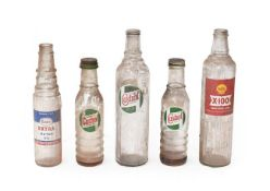 ~ Five Vintage Glass Oil Bottles, comprising a large Castrol Motor Oil, a Shell X-100, a smaller