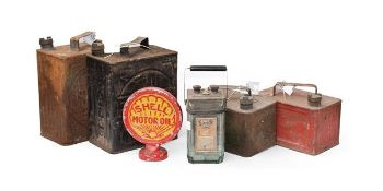 ~ Two Pratts Metal Fuel Cans, 28cm high; A Smaller Red Painted Pratts Fuel Can; A Green Painted