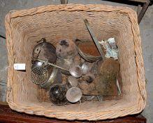 ~ A Large Wicker Basket, containing assorted pre-war headlamps, horns, Austin hub caps etc