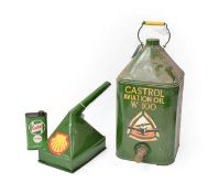 ~ A Castrol Aviation Oil W100 Green Painted Oil Can, with carrying handle and screw top, 52cm