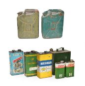 Two Green Painted 20 Litre Fuel Cans, with moulded carrying handle and hinged pouring spout; A Green