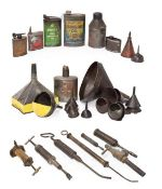 ~ Eleven Assorted Vintage Oil Funnels; A Copper Oil Can; Eight Assorted Lubricating Cans,