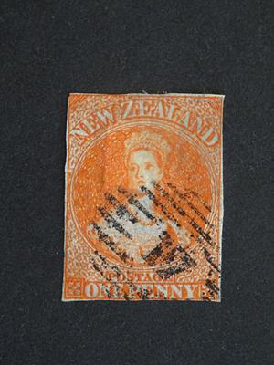 New Zealand. 1863 1d. orange-vermilion on pelure paper, SG.81, cat. £2,500. Used with neat '17'