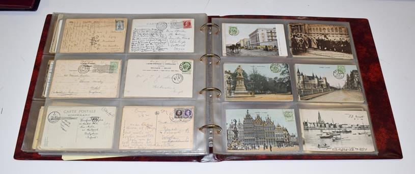 Four Albums (Three Red And One Black) of Approx. 500 Belgian Postcards. A variety of subjects from - Image 4 of 5