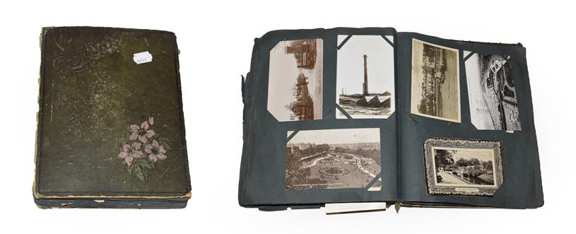 An Edwardian Green Album Containing Approx. 260 Postcards including Greetings, Military, Comic,