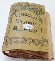 Worldwide, vintage collection in a 19th century Lincoln album containing hundreds of early stamps,