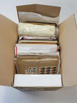 Benelux and Colonies, Carton with 1000s of mint and used stamps, on groups of pages, vintage
