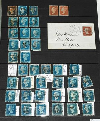 Great Britain 1840-57 ranges incl. 1840 1d black (thinned) and 2d blues (2, fair), 1841 1d reds ''