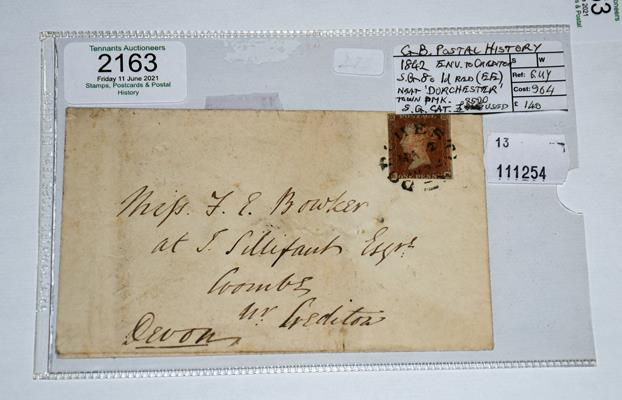 Great Britain, 1d red imperf tied by near-complete strike of Dorchester town postmark, March 2nd