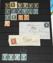 France 1849-52 Ceres used range incl. shades of 20c (6), 25c (13, incl.on entires x3), 40c (2),1f.