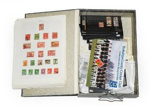 Worldwide, box-file of 1000+ mint and used stamps on cards, album pages and loose in packets,