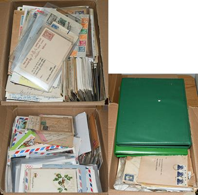 Worldwide Covers, Three Boxes of about 2500+ all-world covers 19th century onwards, including two