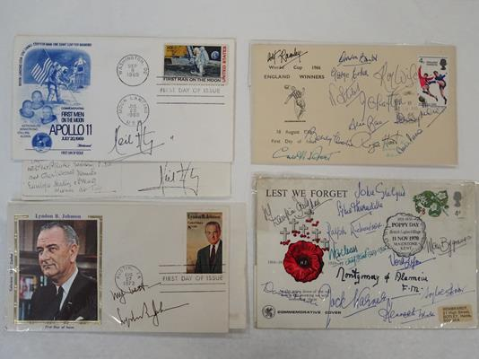 Autographs: 1966 World Cup winners, Neil Armstrong, etc. Very interesting group of 16 - Image 4 of 5