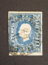 Austria. 1858 (1k.05) blue newspaper stamp, SG.N28, used with neat cds, strong colour, four margins,