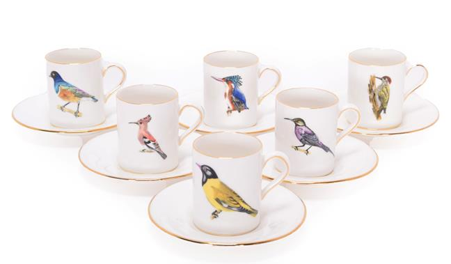 Collectibles: Rowland Ward China Coffee Cans and Saucers, six Coffee Cans and saucers, painted