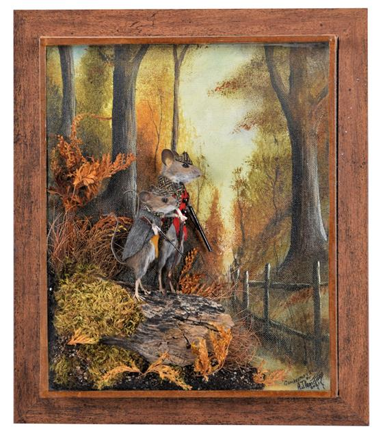 Taxidermy: Anthropomorphic Gamekeeper Mouse and Son, circa 2021, by A.J. Armitstead, Taxidermist &