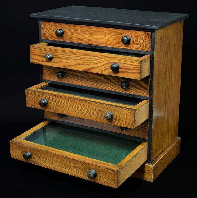 Entomology: A Late 19th Century Specimen Chest, circa 1880-1900, a six-drawer pitch pine specimen