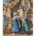 Adrian Paul Allinson (1890-1959) Figures before Anticoli Corrado, Rome Signed and dated (19)25,