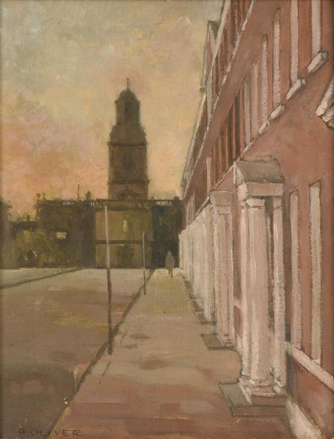 Raymond Oliver (b.1933) ''St Johns, North Wakefield'' Signed, oil on board, 22cm by 17cm