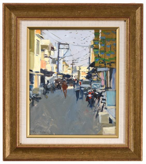 Ken Howard OBE, RA, RBA, NEAC (b.1932) ''Sadar Bazar, India'' Signed, inscribed verso, oil on board, - Image 2 of 2