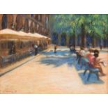 John Mackie (b.1955) ''Place Royale, Barcelona'' Signed and dated (19)99, pastel, 57cm by 78cm