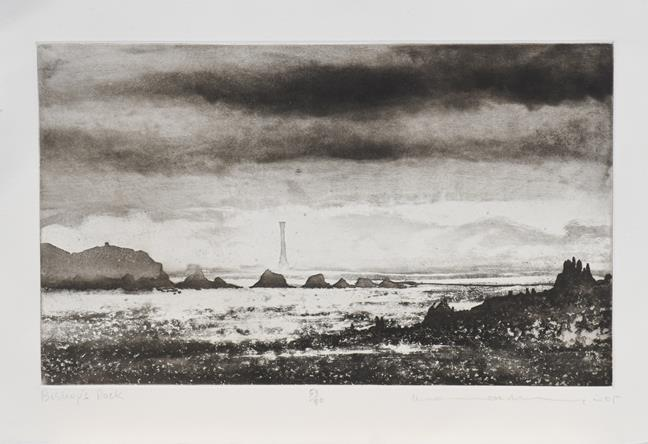 Norman Ackroyd CBE, RA (b.1938) ''Bishop's Rock'' Signed and dated (20)05, inscribed and numbered - Image 2 of 2