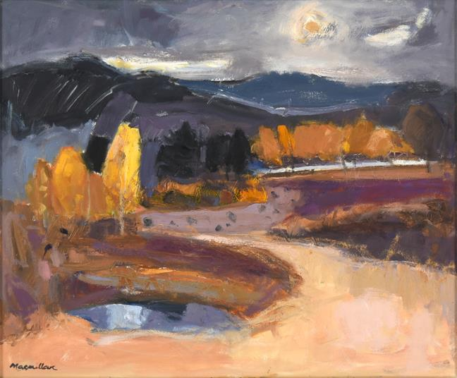 Sheila MacMillan (1928-2018) Scottish ''Kincraig Marsh'' Signed, oil on canvas, 48cm by 58cm