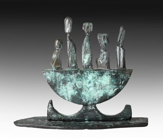 Helen Sinclair (b.1954) Welsh ''The Skellig Boatmen Maquette'' Initialled and numbered 5/9,